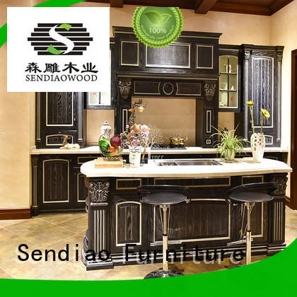 kitchen real wood kitchen cabinets classical A living room Sendiao Furniture