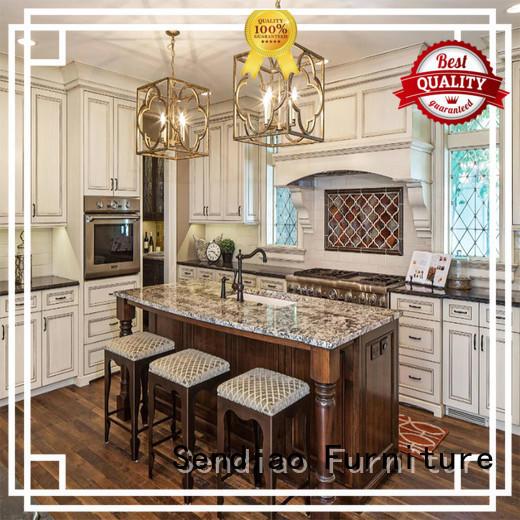 Sendiao Furniture classical hardwood kitchen cabinets wood Chateau