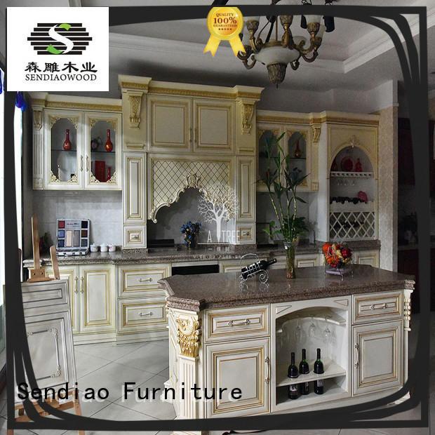 luxury kitchen cherry kitchen cabinets wooden Sendiao Furniture company