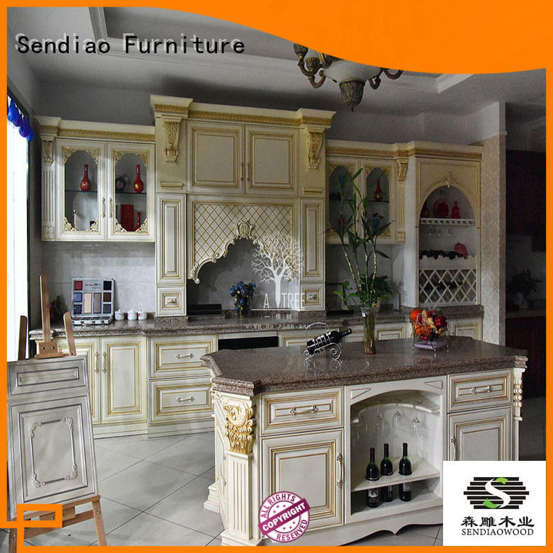 wood custom kitchen cabinet manufacturers sdk07 Study Sendiao Furniture